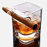 Verre à whisky, double verre avec repose-cigare intégré, convient pour whisky,...
