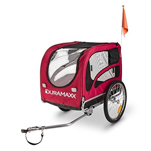 """DURAMAXX King Rex Fahrradanhänger Lasten Hänger Hundehänger (mit Hochdeichsel, Laderaum mit 250 Liter Volumen, belastbar bis 40kg, Kugel-Kupplung für Fahrräder mit 26"""" – 28"""") rot-schwarz - 5"""