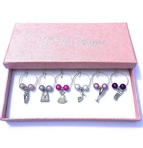 Girl 's Favourites Wein Glas Charms mit rosa Geschenkbox handgefertigt von Libby 's Market Place ~ von UK Verkäufer (Glas High Heel-figur)