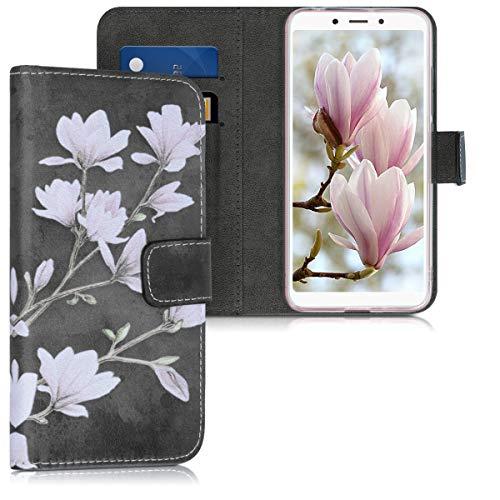 kwmobile Xiaomi Redmi 6A Hülle - Kunstleder Wallet Case für Xiaomi Redmi 6A mit Kartenfächern & Stand - Magnolien Design Taupe Weiß Dunkelgrau