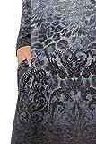 GINA LAURA Damen Pullover, Musterverlauf, Lange Form, Ziersteinchen palastblau L 722623 71-L