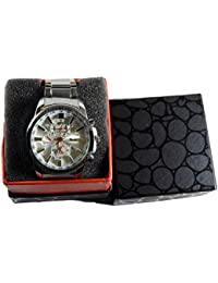 Forest Analogue silver round dial watch with stainless steel strap