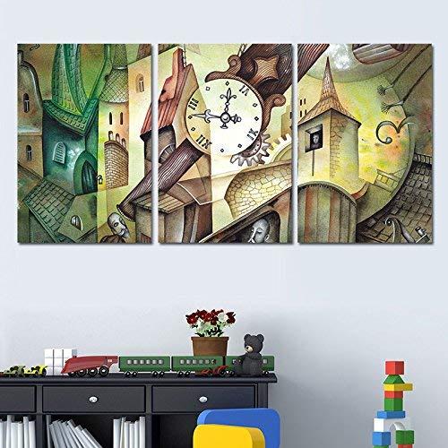 MoMo Europäische und amerikanische Wandmalereien, Dekorationen, Moderne minimalistische Nähte, abstrakte rahmenlose Muster, Artwork Wandbilder X3,60 * 90X3,Creative City Clock Tower