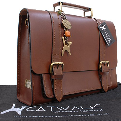 Catwalk Collection Große Umhängetasche Canterbury - Leder Braun