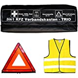3in1 KFZ Verbandskasten Kombitasche - Trio mit Warnweste, Erste Hilfe Set und Warndreieck
