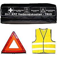 Tuningmods® 3in1 KFZ Verbandskasten Kombitasche - Trio mit Warnweste, Erste Hilfe Set und Warndreieck
