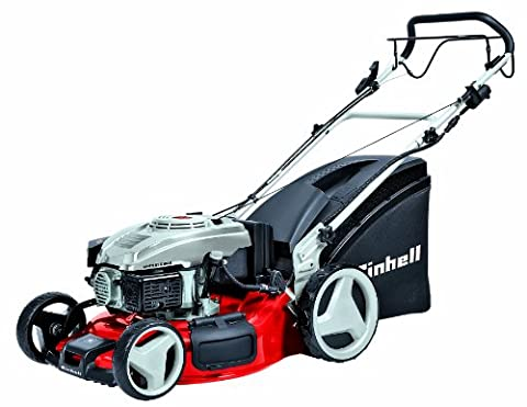 Einhell GH-PM 51 S HW-E Benzin-Rasenmäher, 2,5 kW, 51cm Schnittbreite, 6-fache Schnitthöhenverstellung, 70l, Highwheeler, Radantrieb,