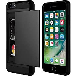 Black XYLO-ARMOUR Hard Back Ultra Slim Cover / Skin / Case with Card Holder for the Apple iPhone 7. Includes ClearICE Screen Protector Guard.