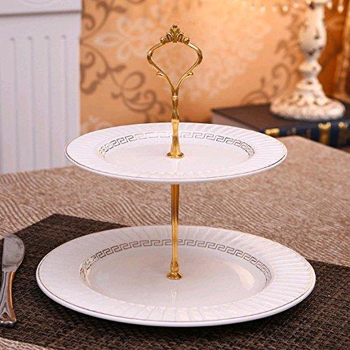 2/3 Couche De Fruit Plate Céramique Ronde Multi-couches Fruit Plate Cake Plate Dessert Plate ( couleur : Or , taille : 2 couche )