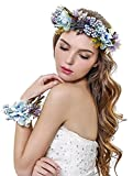 CH Mujer Niña corona de flores corona flores diadema con banda de muñeca conjunto para boda (Azul)