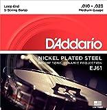 D\'Addario EJ61 Medium 10-23 - Jeu de cordes Banjo 5 cordes plaqué nickel