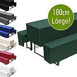 Hussen-Set für Bierzeltgarnitur, Länge 180 cm - 1x Biertischhusse 180x50 cm & 2x Bierbankhusse 180x25 cm - Grün