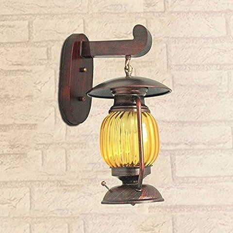 Lampe Murale Lanterne Antique wall lamp lampe de chevet restaurant à thème boutique de vêtements d'appliques en bois massif,W200MMH380MM