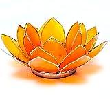 Chakra-Kerzenhalter Teelichthalter Lotusblüte, Capiz-Muschel, Rand Silberfarben, etwas anderes Gelb