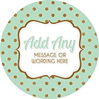 Glitter Effect Polka Dots Mint Sticker Labels (12 Stickers, 6.5cm Each) Personalised Custom Seals Ideal for Party Bags Sweet Cones Favours Jars Presentations Gift Boxes Bottles Crafts