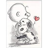 Original Kreidezeichnung auf Zeichenkarton: Peanuts Charlie & Snoopy / 24x32 cm