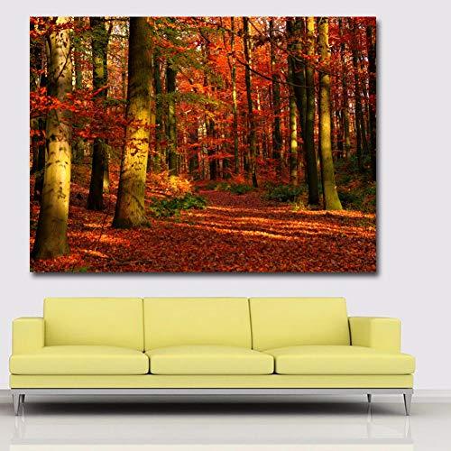 ACYKM Pintura Arte Decorativo HD Imprime otoño Rojo