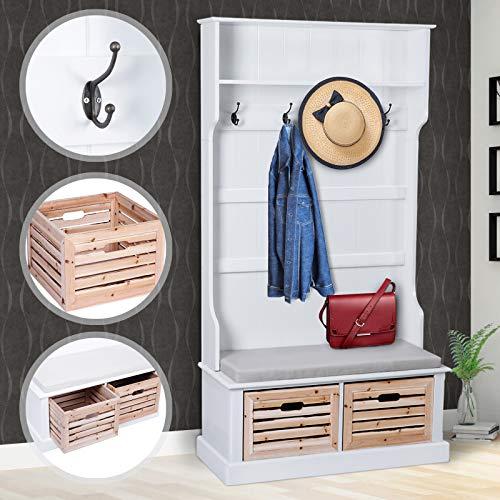 Garderobenständer in weiß aus Holz | 92x180x40cm, mit Sitzbank und 2 Boxen | Garderobenschrank, Kleiderständer, Flurgarderobe, Wandgarderobe