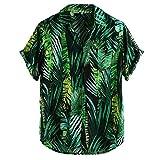 NPRADLA Hommes Imprimé Rétro Chemise Hawaiian Loose Beachwear Manches Courtes Boutons Occasionnels Tshirt Haut