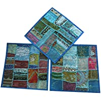 "3 Ethnic Pillow Cover Sari Pillowcases Patchwork Embroidered Cushion Cover Home Decor 16""x16"" (Blue)"