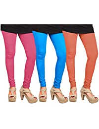CAY 100% Cotton Combo of Orange, SkyBlue and Baby Pink Color Plain, Stylish & Most Comfortable Leggings For Girls & Women with Full Length (SIZE : Free Size)