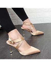 Xue Qiqi Sandalias de tacón zapatos de mujer 2017 con punta fina tira transversal Baotou sandalias de satén de...