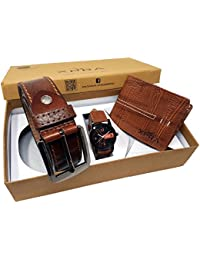 XPRA Analog Watch, Brown PU Leather Belt & Brown Leather Wallet For Men/Boys Combo (Pack Of 3) - (WL-3CMB-41)