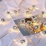 Prevently Lichterkette Strombetrieben,LED Lichterkette marokkanische Kugeln Lichterkette Batterienbetrieben 1,5 m 10 Lichter für Party Weihnachten Hochzeit Feier Garten Terrasse (Silber)