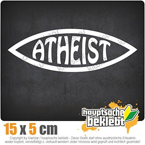 Atheist Fisch 15 x 5 cm IN 15 FARBEN - Neon + Chrom! Sticker Aufkleber