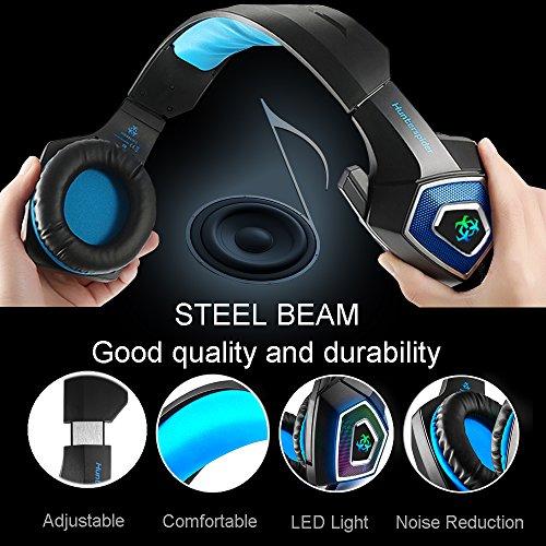 Gaming Headset für PS4 Xbox One PC,Stereo Sound Gaming Kopfhörer mit Mikrofon für Laptop Mac Tablet (Blau) - 4