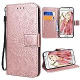 VemMore Kompatibel für Samsung Galaxy S6 Hülle Handyhülle Schutzhülle Leder PU Wallet Flip Case Bumper Lederhülle Ledercase Blumen Muster Klapphülle Ultra Slim Dünn Klappbar Magnetisch - Rose Gold