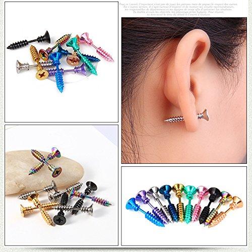 Ohrringe drei Paar Schrauben lustig Halloween Ohrringe für Damen Herren Unisex ideal für Halloween-Kostüm, 3 Paar und Farbe zufällig