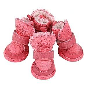 OMEM Chaussures pour Chien, Bottes de Neige pour Chiot Tissu Doux et Confortable Antidérapant Protection pour Chien