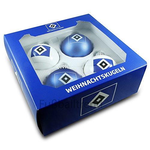Brauns Hamburger SV Weihnachtskugeln 4er-Set, blau, 29179