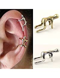HuntGold 1X Unisex Earring Climbing Man Type No Piercing Cartilage Clip Ear Cuff(Silver) by HuntGold