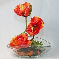 Amapolas anaranjadas en un plato de cristal oval - arreglo floral, pieza central con flores
