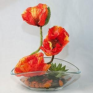 Amapolas anaranjadas en un plato de cristal oval – arreglo floral, pieza central con flores artificiales