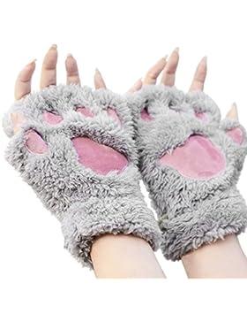yeah67886Niñas Lovely Cat forma de pezuña de gato invierno cálido mitones corto medio dedo guantes (gris)