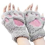 OHlive Schöne Katze Klaue Pfote Plüsch Winter warme Handschuhe Kurze halbe Fingerhandschuhe
