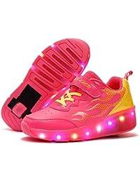 Unisex Schuhe mit Rollen Kinder Skateboard Schuhe Rollschuh Schuhe LED Light Wheels Sneakers Outdoor-Trainer für Junge Mädchen (33 EU, Ein Rad / Schwarz)