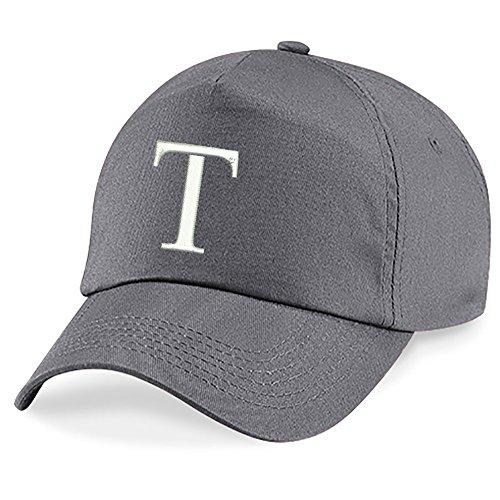 Casquette 4sold Unisexe Broderie Coton Baseball Cap Garçons Filles Hip Hop Flat Hat Bonnet A-Z Alphabet Gris Graphite T