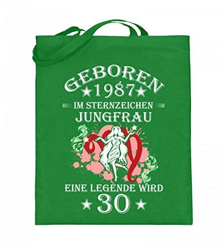 Hochwertiger Jutebeutel (mit langen Henkeln) - Sternzeichen Jungfrau wird 30 Light Green