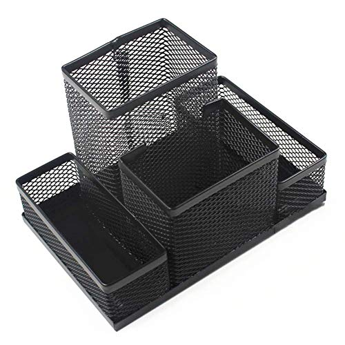 LEEQ Schreibtisch-Organizer-Set aus Netzstoff, für Büro, Schreibtisch-Ablage, multifunktional, schwarzes Metall, Stifthalter (schwarz)