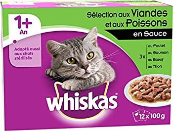 Whiskas Sachets Fraîcheur aux Viandes et Poissons en Sauce pour Chat 1 An et plus 12 x 100g - Lot de 4 (48 sachets fraîcheur)