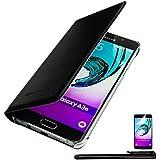4in1 Housse Mince pour - Samsung Galaxy A3 (2016) - Flip case étui de protection / Pochette téléphone coque étui , NOIR + 1x Stylet + 1x Film de protection