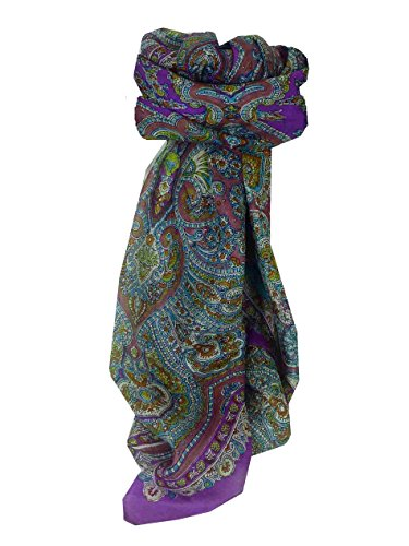 Traditional Maulbeereseide Quadratischer Tuch Madras Purple von Pashmina & Silk Madras Wrap
