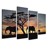Visario Leinwandbilder 6066 Bilder auf Leinwand Afrika Tiere Savanne, 130 x 80 cm