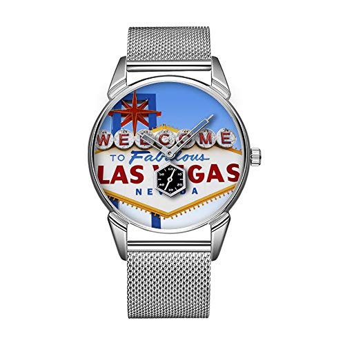 Mode wasserdicht Uhr minimalistischen Persönlichkeit Muster Uhr -509. Las Vegas Welcome Road Sign 2 -