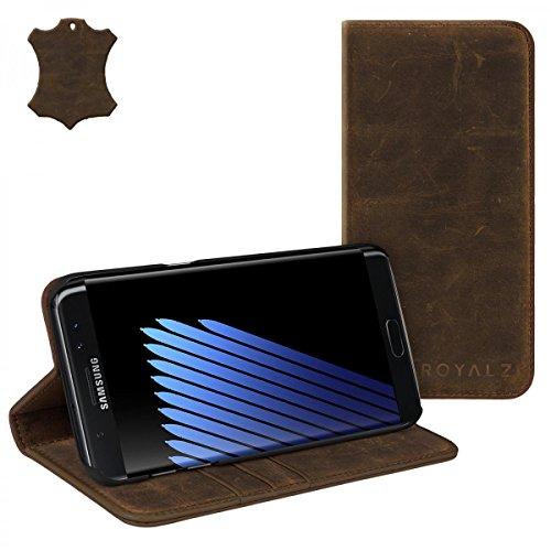 ROYALZ Tasche für Samsung Galaxy Note 7 Ledertasche ( N930 / N930F ) Lederhülle Hülle Book Cover Case Schutzhülle Schutztasche Etui Wallet Handyhülle mit unsichtbarem Magnet Standfunktion Kartenfach Vintage Leder dunkel braun