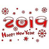 BESTOYARD 2019 Joyeux Nouvel an Autocollants De Noël Flocon De Neige Fenêtre Stickers en Verre Collage Gratuit Rouge Blanc
